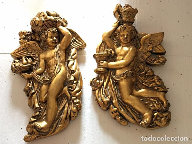 Arte: TALLA EN MADERA DE ANGELITOS PAN DE ORO - Foto 5 - 98485591