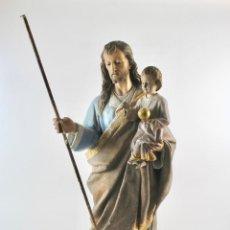 Arte: IMAGEN DE SAN JOSE CON EL NIÑO EN TALLA DE MADERA CON VESTIDURA DE LIENZO.NECESITA RESTAURACION.. Lote 98542999