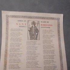Arte: GOIGS - EN LLAOR DE SANT ILDEFONS BISBE I CONFESOR 1950 ESTAMPATS PER ENRIC PARELLADA . Lote 98576679