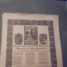 Arte: GOIGS DEL GLORIOS PROFETA I MARTIR ST. JOAN BAPTISTA BARCELONA MCMXXII TIP. ALTES . Lote 98576915