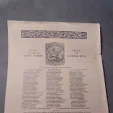 Arte: GOIGS A LLAOR DE SANT JORDI PATRÓ DE CATALUNYA EDC. PAPER DE FIL Nº 153 ABRIL 1929. Lote 98578143