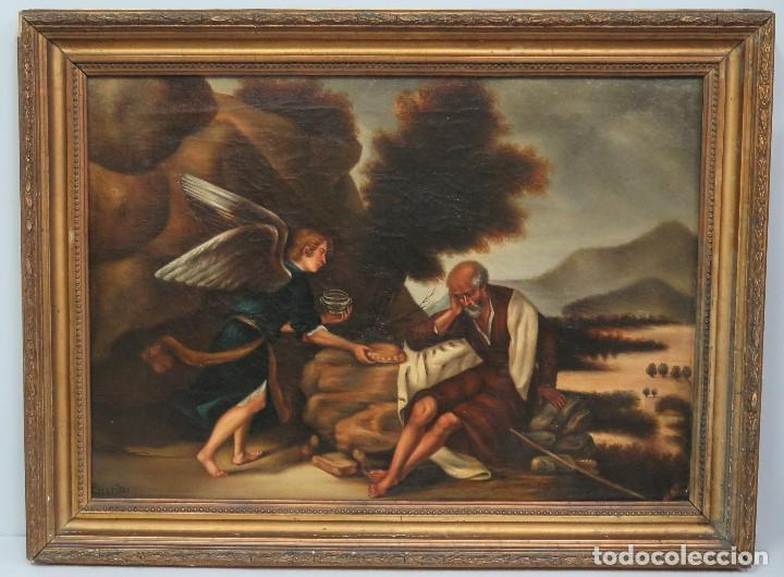 OLEO S/ LIENZO. EL PROFETA ELIAS CONFORTADO POR EL ANGEL. SIGLO XIX (Arte - Arte Religioso - Pintura Religiosa - Oleo)