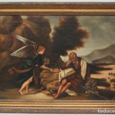 Arte: OLEO S/ LIENZO. EL PROFETA ELIAS CONFORTADO POR EL ANGEL. SIGLO XIX. Lote 98716207