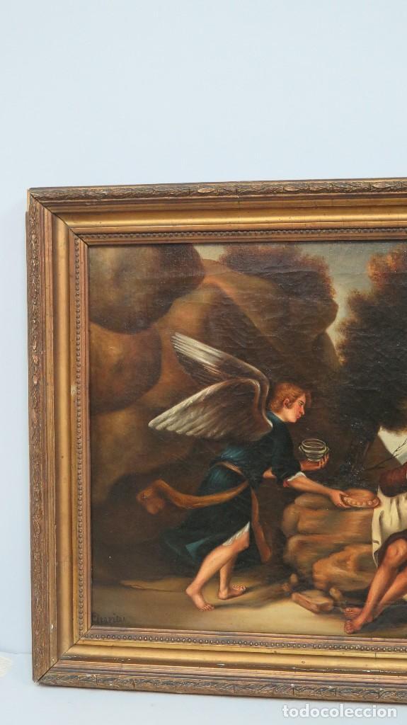 Arte: OLEO S/ LIENZO. EL PROFETA ELIAS CONFORTADO POR EL ANGEL. SIGLO XIX - Foto 3 - 98716207