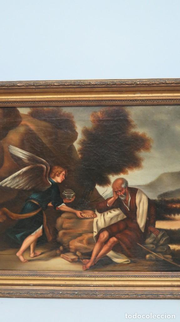 Arte: OLEO S/ LIENZO. EL PROFETA ELIAS CONFORTADO POR EL ANGEL. SIGLO XIX - Foto 4 - 98716207