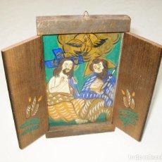 Arte: TRIPTICO PINTADO MADERA AL OLEO O ACUARELA ESCENA RELIGIOSA MIDCENTURY. Lote 98803935