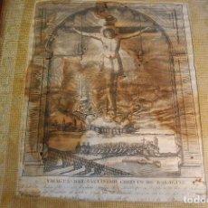 Arte: MUY ANTIGUO GRABADO DE LA YMAGEN DEL SANTISIMO CHRISTO DE BALAGUER - GRAN MARCO DE NOGAL - BORDADO -. Lote 98926547