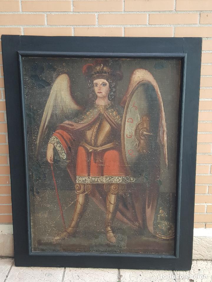 ARCANGEL. ÓLEO SOBRE LIENZO. PINTURA COLONIAL. SIGLO XVII. MARCO ANTIGUO. (Arte - Arte Religioso - Pintura Religiosa - Oleo)
