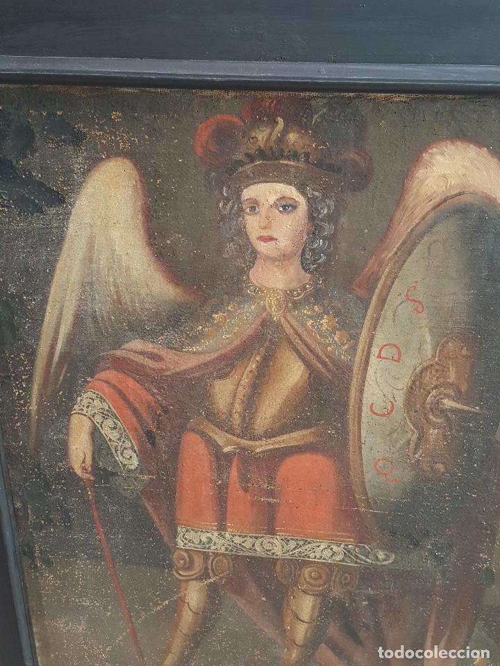 Arte: Arcangel. Óleo sobre lienzo. Pintura colonial. Siglo XVII. Marco antiguo. - Foto 2 - 98991915