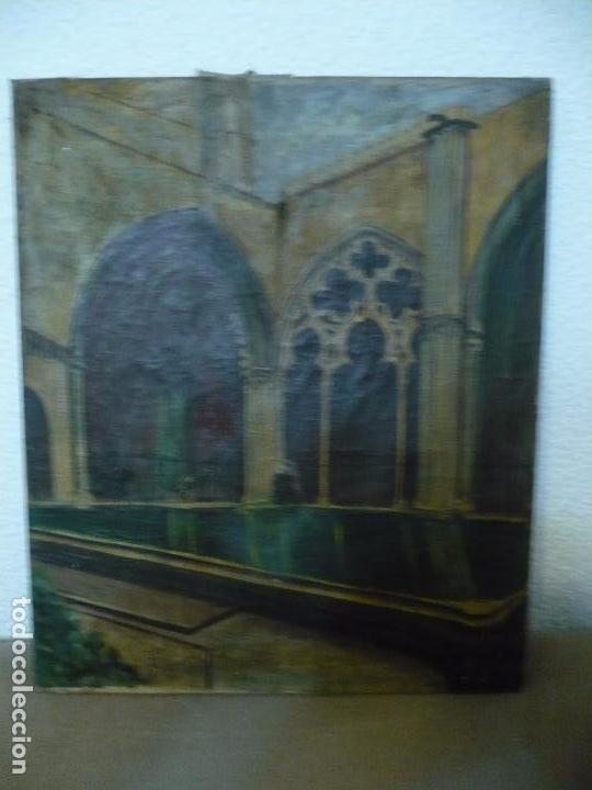 INTERIOR DE CATEDRAL OLEO / LIENZO SIGLO XX 45,5 CM X 37,5 CM (Arte - Arte Religioso - Pintura Religiosa - Oleo)