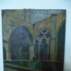 Arte: INTERIOR DE CATEDRAL OLEO / LIENZO SIGLO XX 45,5 CM X 37,5 CM. Lote 99189611