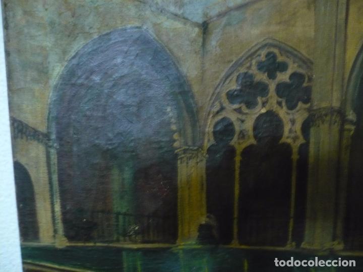 Arte: INTERIOR DE CATEDRAL OLEO / LIENZO SIGLO XX 45,5 CM X 37,5 CM - Foto 3 - 99189611