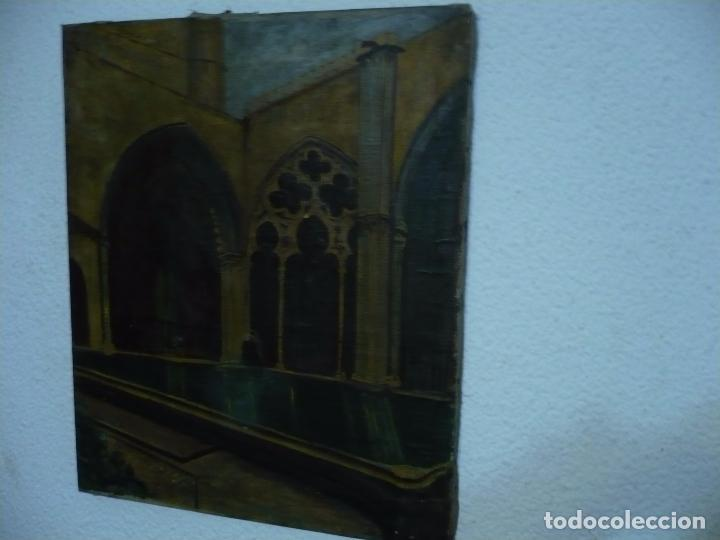 Arte: INTERIOR DE CATEDRAL OLEO / LIENZO SIGLO XX 45,5 CM X 37,5 CM - Foto 5 - 99189611