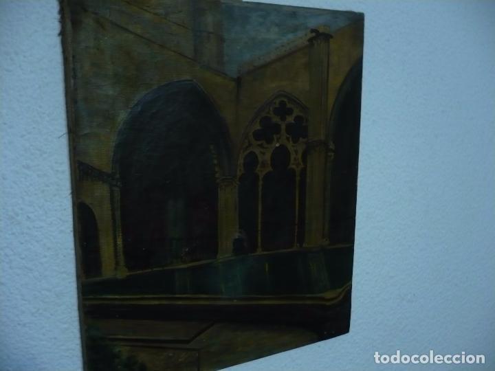 Arte: INTERIOR DE CATEDRAL OLEO / LIENZO SIGLO XX 45,5 CM X 37,5 CM - Foto 7 - 99189611