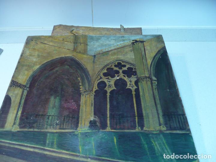 Arte: INTERIOR DE CATEDRAL OLEO / LIENZO SIGLO XX 45,5 CM X 37,5 CM - Foto 10 - 99189611