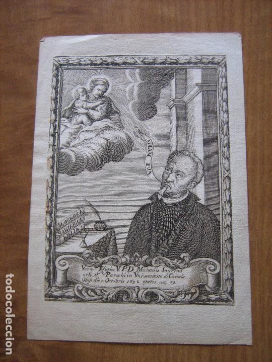 GRABADO V.P.D. MICHAELIS SAURINA - VALENCIA - FECHADO 1698 - PEGADO SOBRE PAPEL 21X16 CM (Arte - Arte Religioso - Grabados)