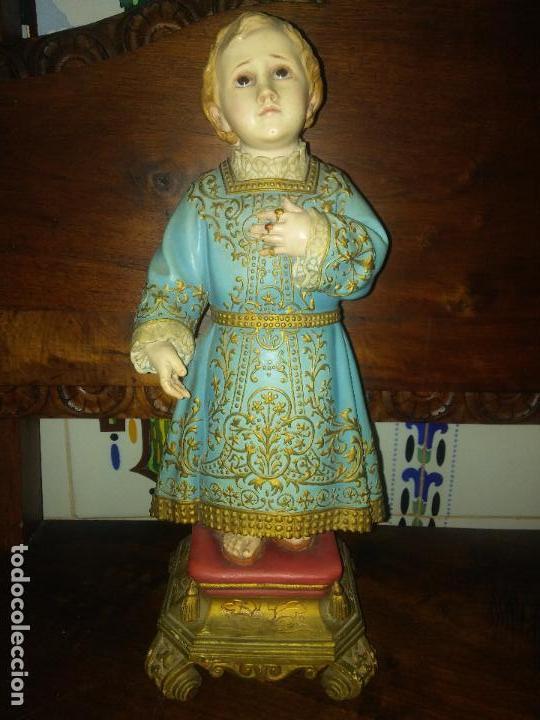ANTIGUO SANTO NIÑO DEL REMEDIO OLOT OJOS DE CRISTAL 42 CM (Arte - Arte Religioso - Escultura)