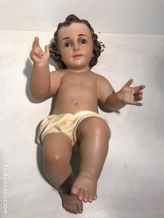 NIÑO JESUS DE CUNA GRANDE DE 43CM LARGO. MODELO OLOT, (Arte - Arte Religioso - Escultura)