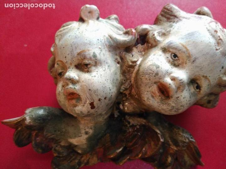 MUY ANTIGUAS TALLAS MADERA BARROCA QUERUBINES CABEZAS ANGELES ANGELITOS SIGLO XVIII ANGEL 290 EU (Arte - Arte Religioso - Escultura)