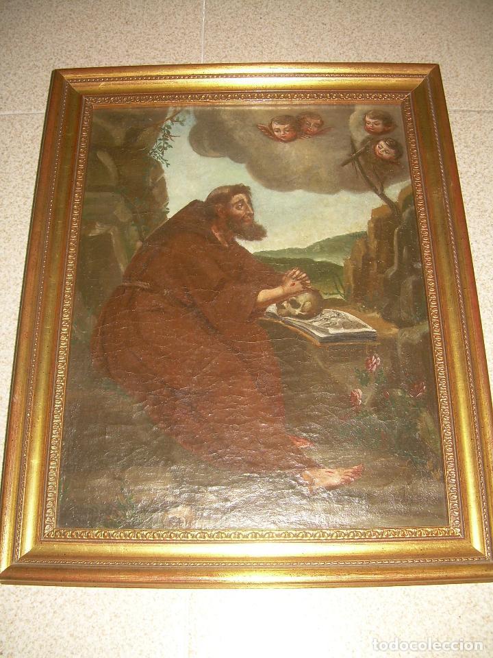 Arte: OLEO SOBRE LIENZO ANONIMO SIGLO XVIII..... SAN FRANCISCO ESCUELA ESPAÑOLA - Foto 8 - 99668423