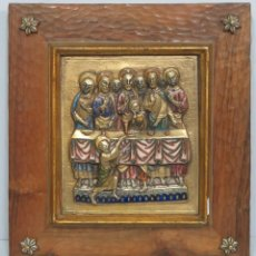Kunst: PRECIOSA SANTA CENA EN BAJORRELIEVE DEL SIGLO XIII ESMALTADA. MEDIADOS SIGLO XX. Lote 99709755
