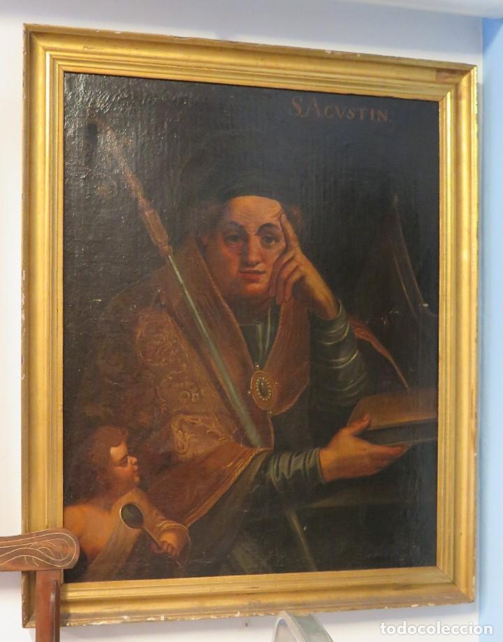 INTERESANTE SAN AGUSTIN. OLEO S/ LIENZO. MARCO DE EPOCA. SIGLO XVII-XVIII (Arte - Arte Religioso - Pintura Religiosa - Oleo)