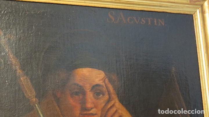 Arte: INTERESANTE SAN AGUSTIN. OLEO S/ LIENZO. MARCO DE EPOCA. SIGLO XVII-XVIII - Foto 5 - 99713391