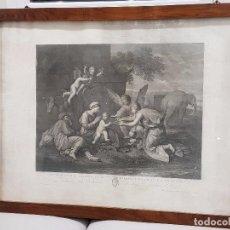 Arte: AGUAFUERTE FINALES SIGLO XVIII. DESCANSO EN LA HUIDA A EGIPTO. POUSSIN. MARCO DE CAOBA. Lote 99561083