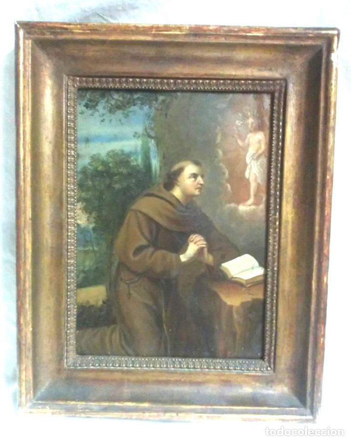 SAN ANTONIO DE PADUA ÓLEO SOBRE COBRE S XVIII. MED. 23 X 29 CM (Arte - Arte Religioso - Pintura Religiosa - Oleo)