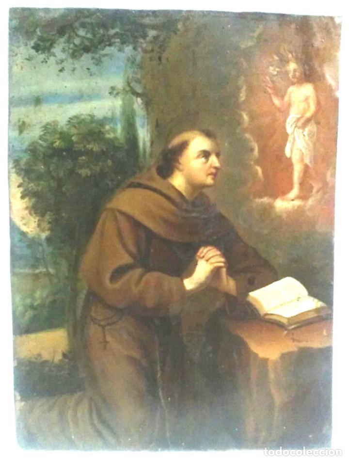 Arte: San Antonio de Padua óleo sobre cobre S XVIII. Med. 23 x 29 cm - Foto 2 - 99816375