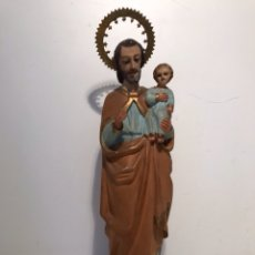 Arte: SAN JOSE CON NIÑO JESUS DE TALLA MADERA ANTIGUO,34CM DE ALTURA.. Lote 99940415