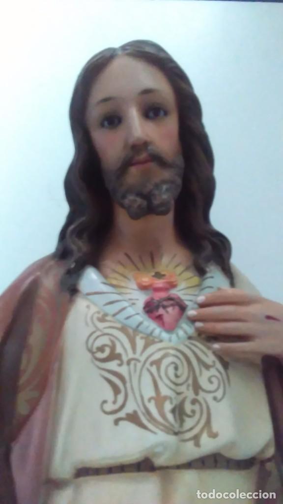 Arte: Figura del Sagrado Corazón de Jesús de Olot. R.Hostench Quintana.Con sello en la parte trasera. 66cm - Foto 2 - 100134059