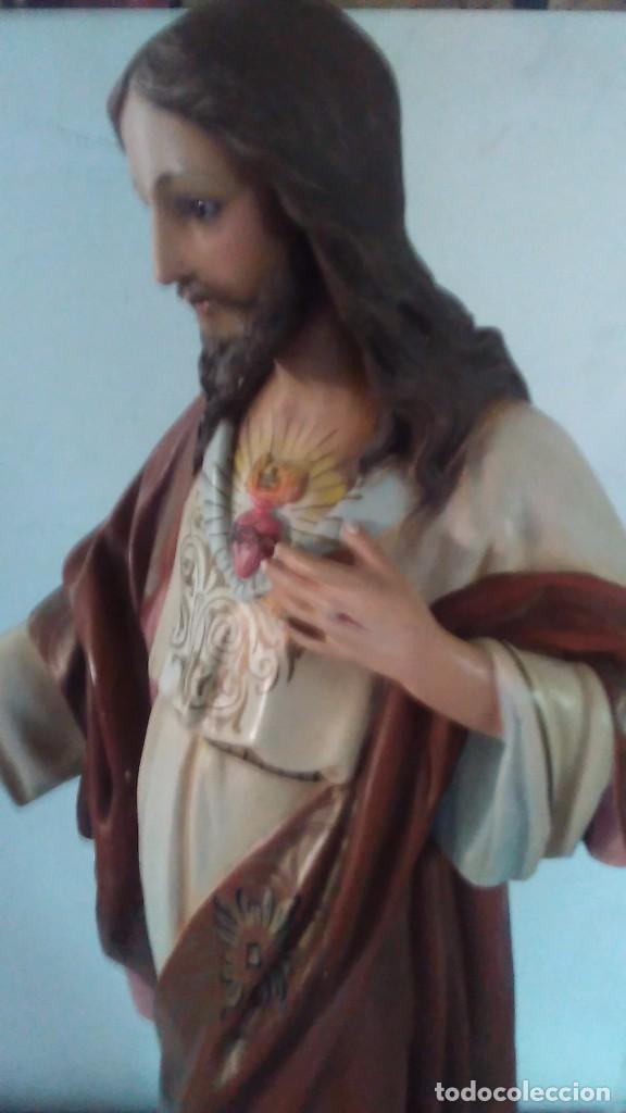 Arte: Figura del Sagrado Corazón de Jesús de Olot. R.Hostench Quintana.Con sello en la parte trasera. 66cm - Foto 3 - 100134059