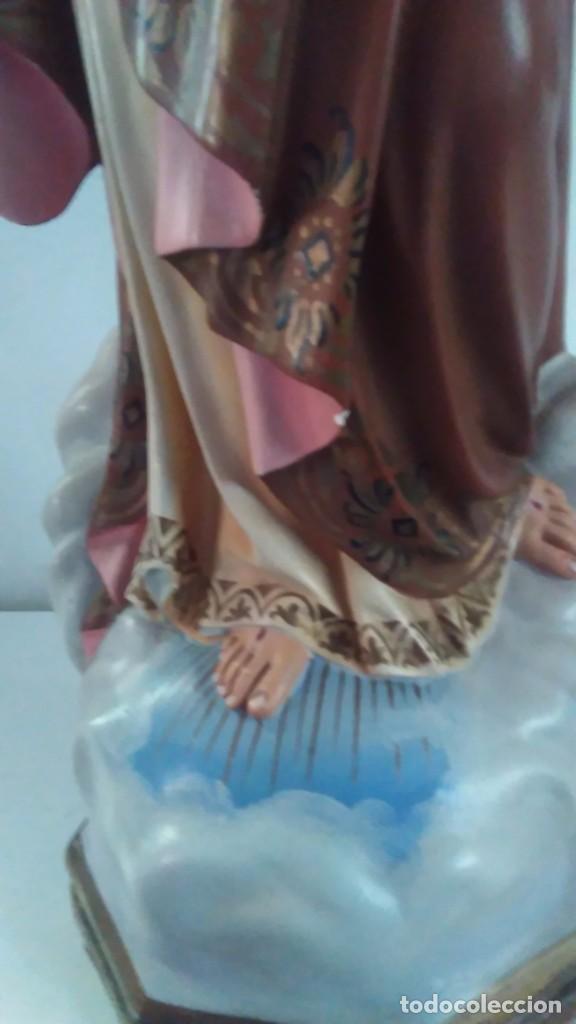 Arte: Figura del Sagrado Corazón de Jesús de Olot. R.Hostench Quintana.Con sello en la parte trasera. 66cm - Foto 4 - 100134059