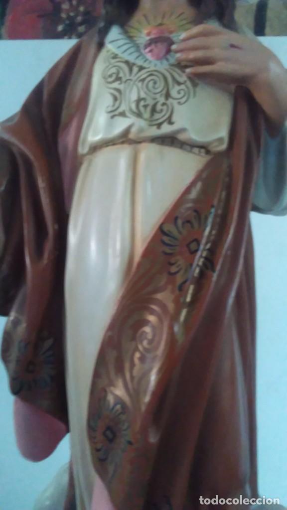 Arte: Figura del Sagrado Corazón de Jesús de Olot. R.Hostench Quintana.Con sello en la parte trasera. 66cm - Foto 5 - 100134059