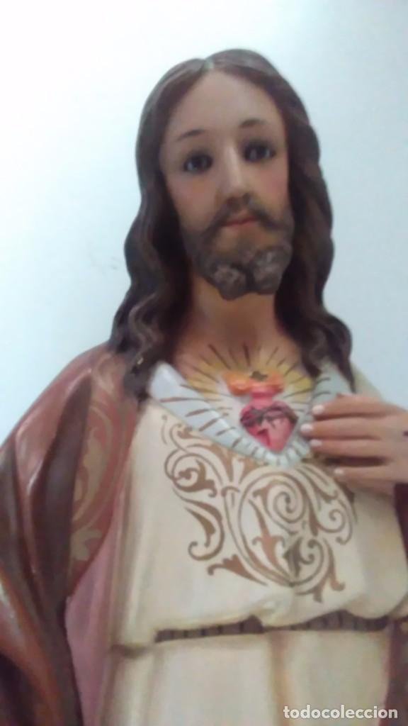 Arte: Figura del Sagrado Corazón de Jesús de Olot. R.Hostench Quintana.Con sello en la parte trasera. 66cm - Foto 6 - 100134059