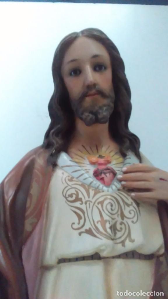 Arte: Figura del Sagrado Corazón de Jesús de Olot. R.Hostench Quintana.Con sello en la parte trasera. 66cm - Foto 7 - 100134059