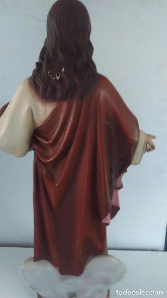 Arte: Figura del Sagrado Corazón de Jesús de Olot. R.Hostench Quintana.Con sello en la parte trasera. 66cm - Foto 9 - 100134059