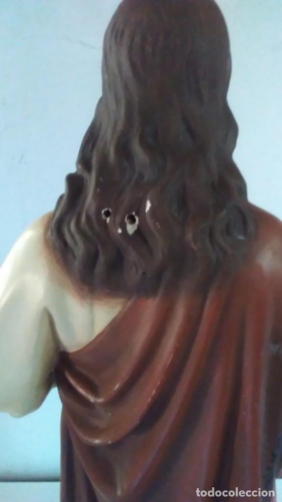 Arte: Figura del Sagrado Corazón de Jesús de Olot. R.Hostench Quintana.Con sello en la parte trasera. 66cm - Foto 14 - 100134059