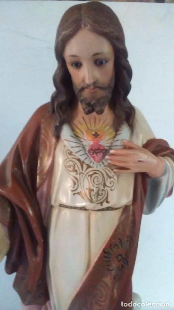 Arte: Figura del Sagrado Corazón de Jesús de Olot. R.Hostench Quintana.Con sello en la parte trasera. 66cm - Foto 16 - 100134059