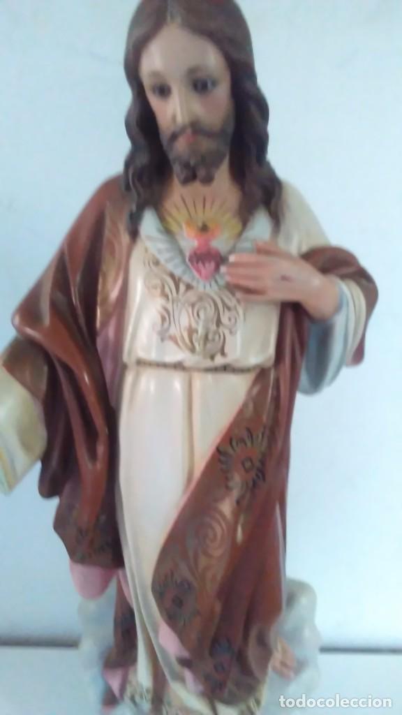 Arte: Figura del Sagrado Corazón de Jesús de Olot. R.Hostench Quintana.Con sello en la parte trasera. 66cm - Foto 17 - 100134059