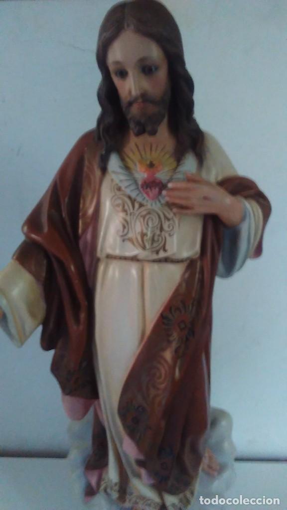Arte: Figura del Sagrado Corazón de Jesús de Olot. R.Hostench Quintana.Con sello en la parte trasera. 66cm - Foto 18 - 100134059