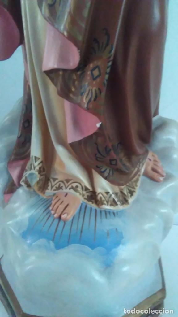 Arte: Figura del Sagrado Corazón de Jesús de Olot. R.Hostench Quintana.Con sello en la parte trasera. 66cm - Foto 19 - 100134059