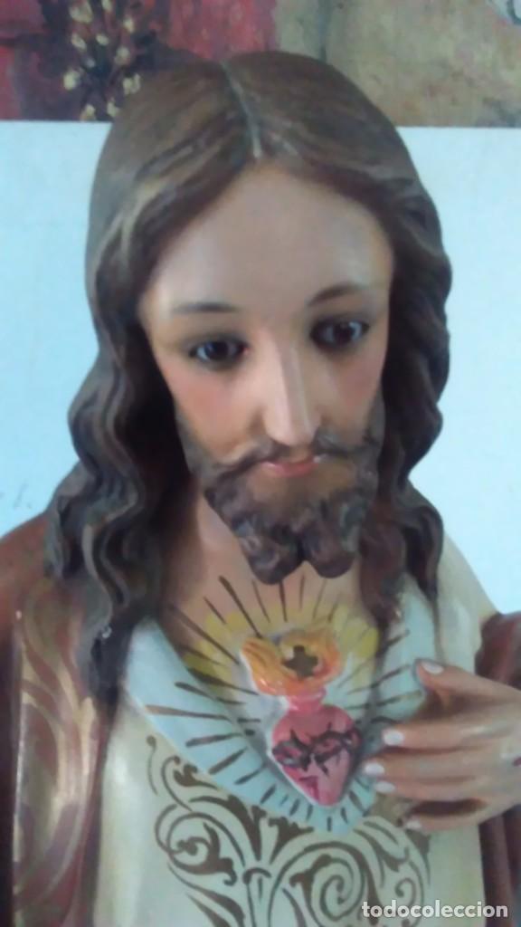 Arte: Figura del Sagrado Corazón de Jesús de Olot. R.Hostench Quintana.Con sello en la parte trasera. 66cm - Foto 20 - 100134059