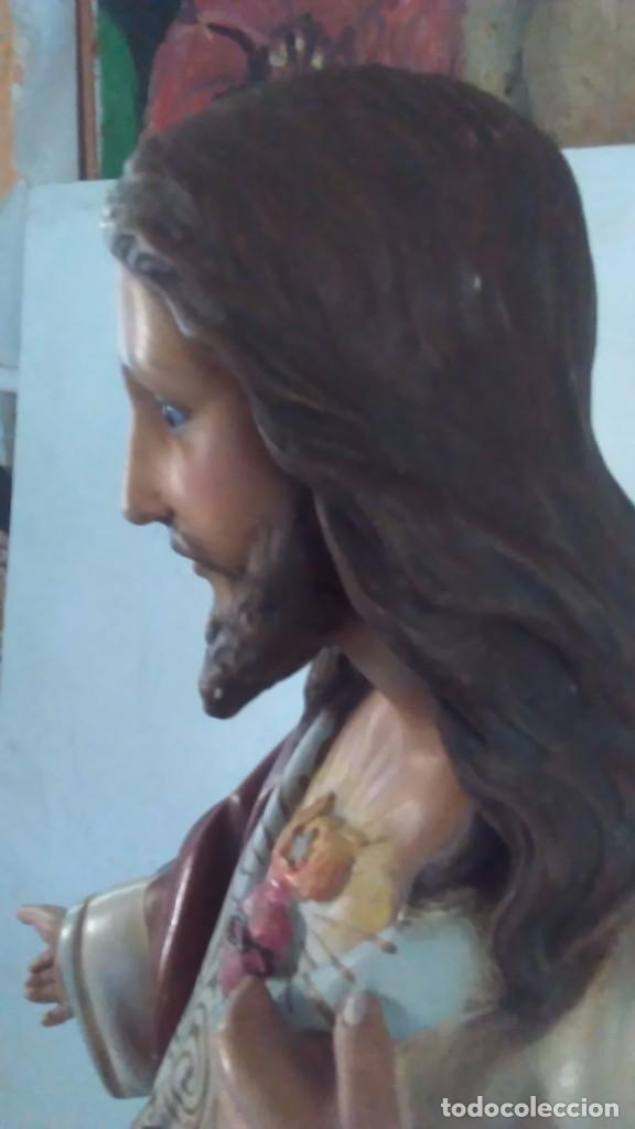 Arte: Figura del Sagrado Corazón de Jesús de Olot. R.Hostench Quintana.Con sello en la parte trasera. 66cm - Foto 21 - 100134059
