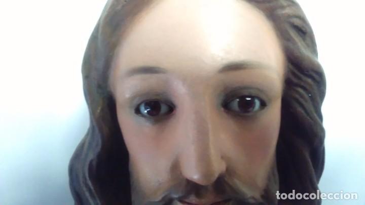 Arte: Figura del Sagrado Corazón de Jesús de Olot. R.Hostench Quintana.Con sello en la parte trasera. 66cm - Foto 28 - 100134059