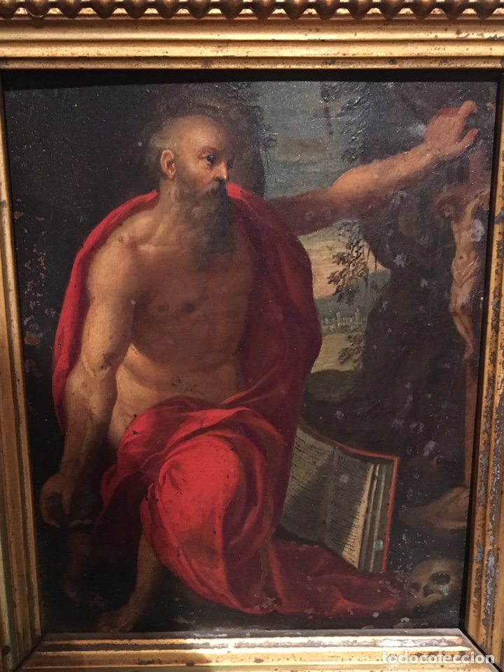 ANTIGUO CUADRO RELIGIOSO SAN JERONIMO PINTADO SOBRE COBRE S.XVIII CON MARCO DORADO (Arte - Arte Religioso - Pintura Religiosa - Oleo)