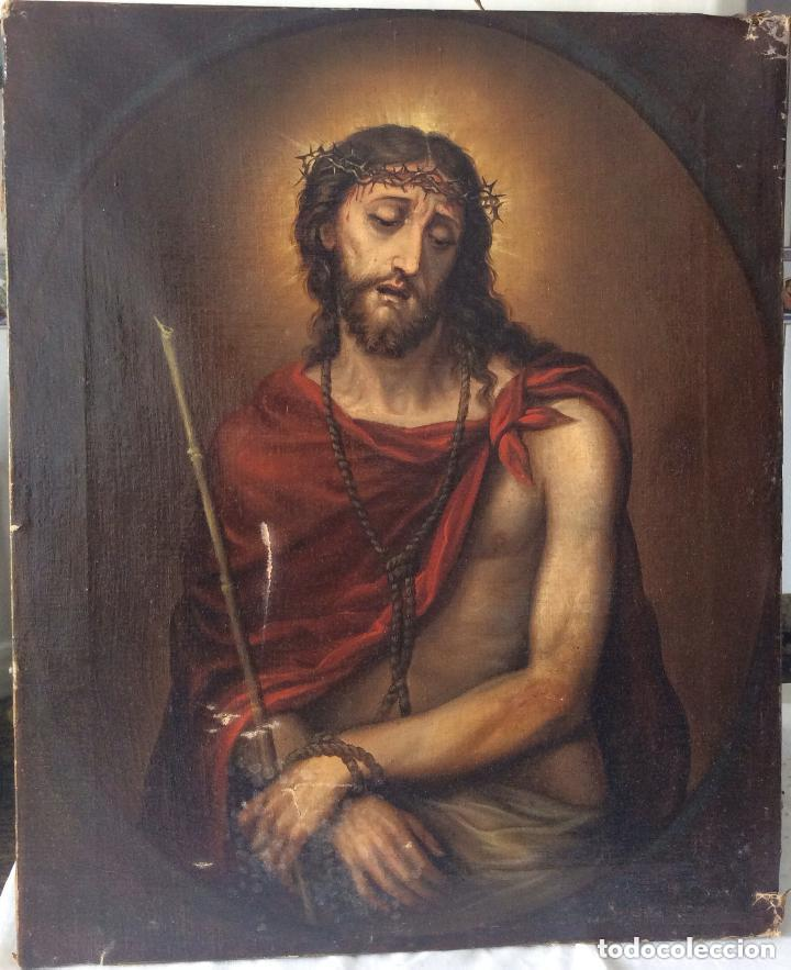 ECCE HOMO ,FINALES SIGLO XIX,ÓLEO SOBRE LIENZO FIRMA ILEGILE,IDEAL COLECCIONISTAS (Arte - Arte Religioso - Pintura Religiosa - Oleo)