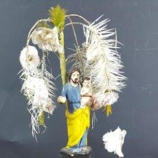 Arte: SAN JOSE Y EL NIÑO. ESCULTURA EN TERRACOTA. PINTADA A MANO. SIGLO XX. . Lote 100491735