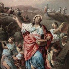 Arte: GRABADO AL ACERO COLOREADO [MÉT. BAXTER] 1860. PASO DEL MAR ROJO, MÍRIAM TOCANDO Y CANTANDO. PAYNE. Lote 100541539
